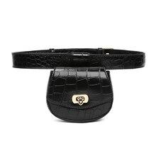 Mini Waist Bags Women Alligator Leather Fanny Pack Vintage Female Chest Belt Bag Wide Strap PU Bum Pack Small Phone Banana Bag