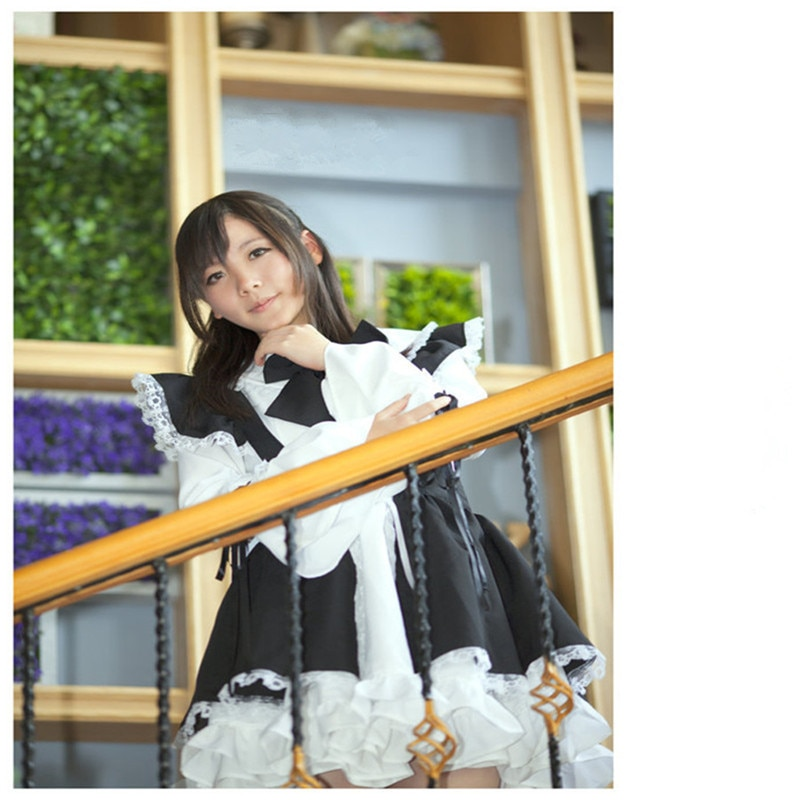 Women Maid Outfit Lolita Dress Cute Горничная Anime Black White Apron Cosplay Maid Dress Men Uniform Cafe Costume Mucama
