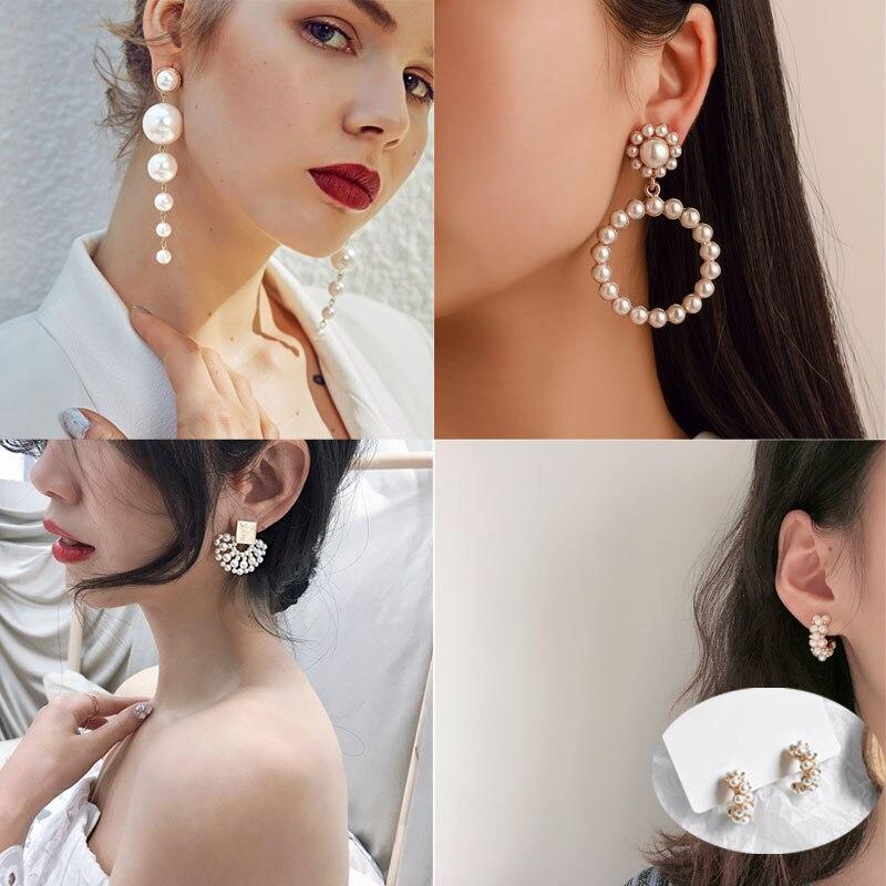 Pendientes largos de perlas de imitación, elegantes y a la moda de 2019, pendientes de gota para mujer, regalo para fiesta de boda