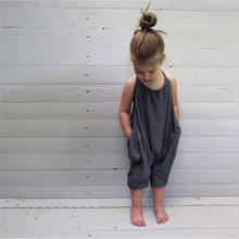 Summer Baby Girl Romper Sleeveless Halter Casual Cotton Kids Jumpsuit Fashion Toddler Children One-p