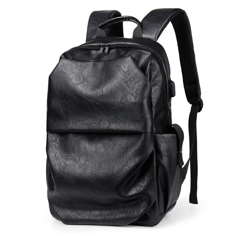 Мужской кожаный рюкзак для ноутбука 15,6 дюйма, школьный рюкзак, модная Водонепроницаемая дорожная сумка, Повседневная кожаная сумка для кни...