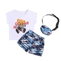 childrens clothing 2021 summer bear print sleeveless o neck vest camouflage shorts messenger bag fashion baby boy clothes 6m 5y