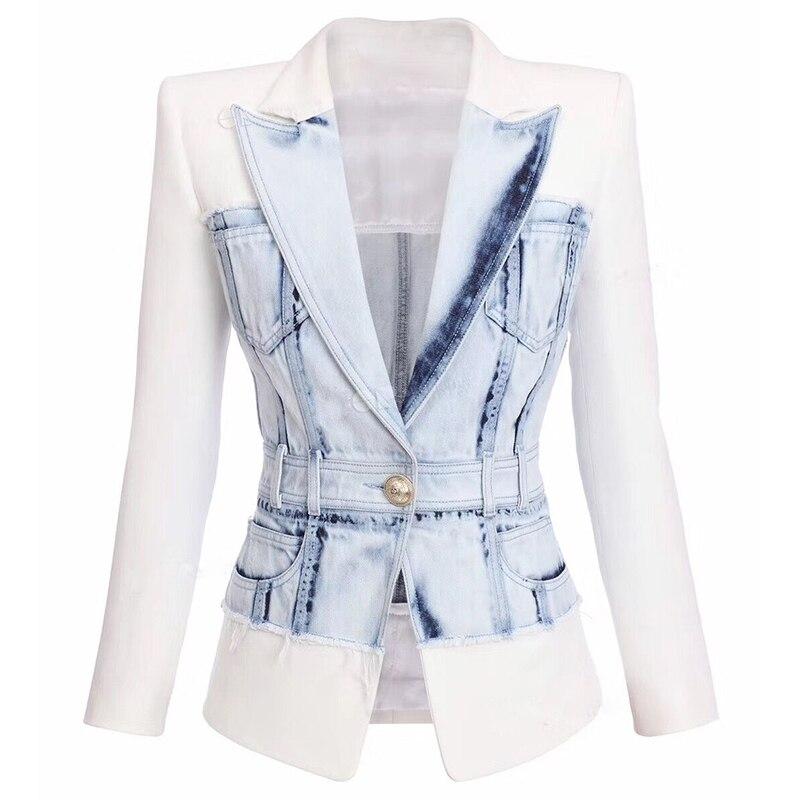 2020 Newest Stylish Designer Jacket Women's Slim Fitting Lion Button Denim Patchwork Blazer