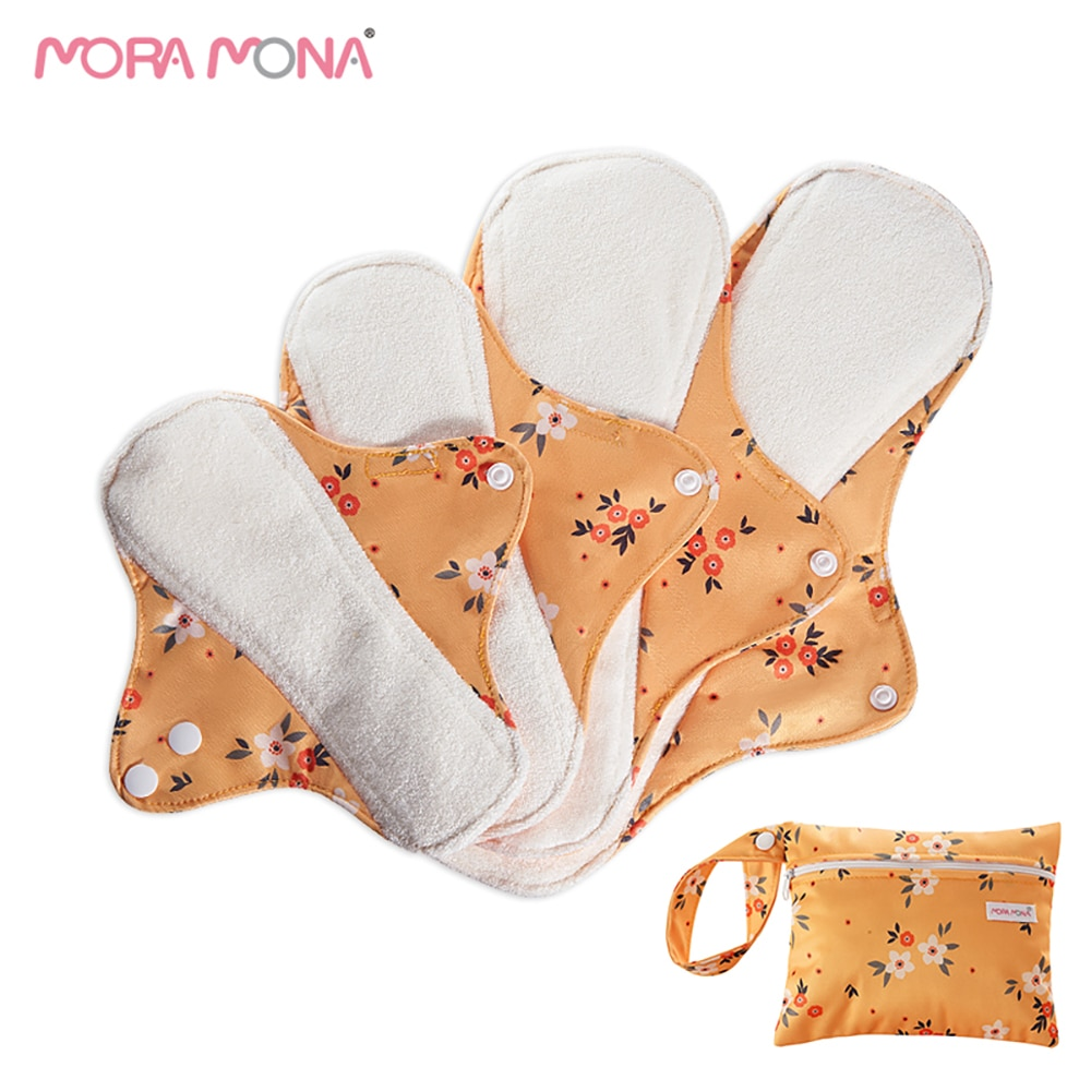 MORA MONA 4-pcs pregnant women postpartum reusable sanitary napkin with a wet bag
