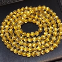 5 5mm natural gold rutilated quartz bracelet 3 laps clear round beads for women men fashion wealthy stone genuine aaaaa