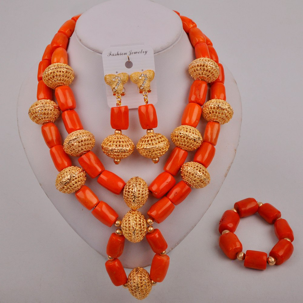 Fashion African Beads Jewelry Set Orange Nigeria Wedding Coral Necklace Bridal Jewelry Sets for Women