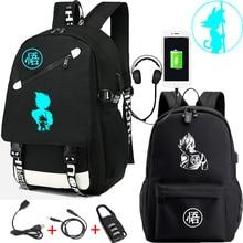 IMIDO 드래곤 볼 Z 배낭 빛나는 학생 만화 USB 충전 어깨 가방 배낭 블랙 통풍 다시 학교 가방