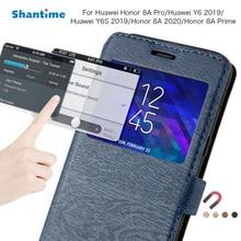 Кожаный чехол для Huawei Honor 8A Pro, чехол для Huawei Y6 2019/Y6S 2019/Honor 8A 2020/Honor 8A Prime View Window, задняя крышка