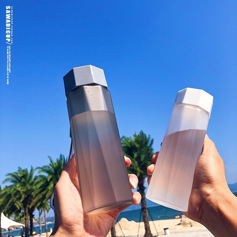 Creative Frosted Plastic Water Bottle Crystal Direct Drinking Portabel Sports Waterbottle for Campin
