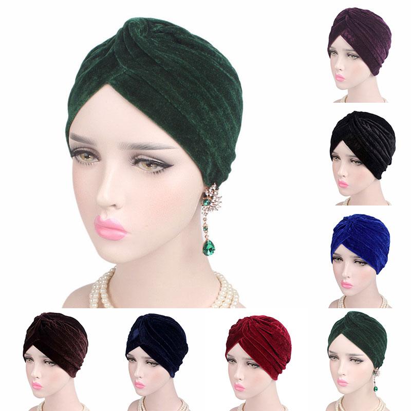Celeb estilo las mujeres turbante de oro de la moda de terciopelo Hijab sombrero Casual elástico bufanda del Hijab mujeres neón velo Hijab musulmán nueva Hijab