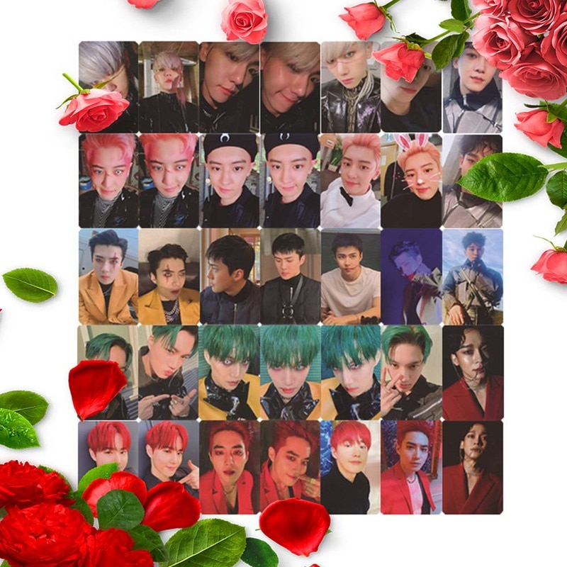 6Pcs/Set Cute EXO Official 6 Album Official Same Homemade Signature Card Star Funny Photo Card CHEN6 KAI