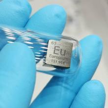 Europium Eu Cube Bulk Glass Seal Pure 99.95% Periodic Table of Rare-earth Metal Elements for DIY Research Study School Education
