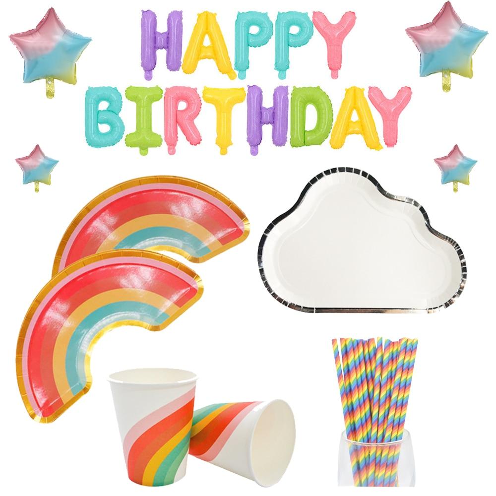 Plato de arco iris, vajilla desechable, plato, taza, suministros de fiesta de cumpleaños para niños, fiesta de bienvenida al bebé, evento, decoración de globos de boda