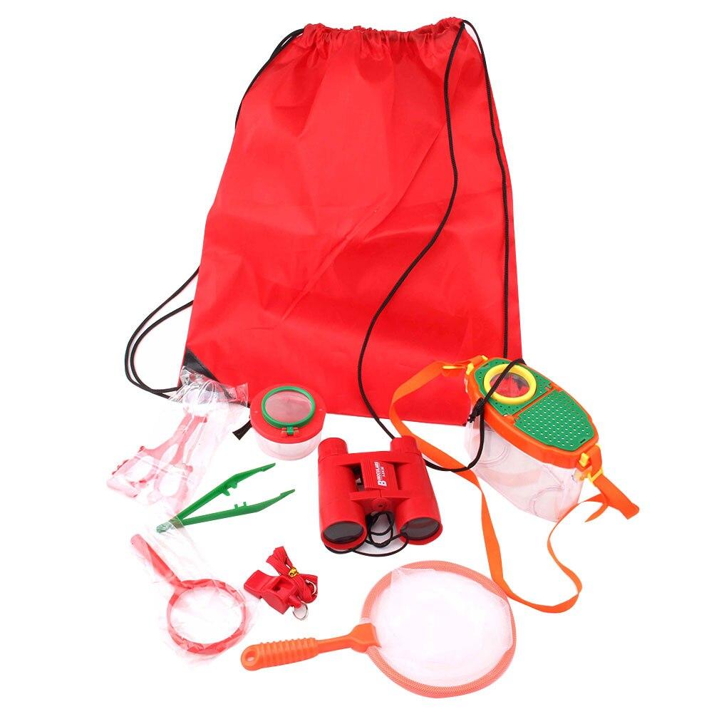 Conjunto de 9 unidades de lupas de observación para chico, lupa para exteriores, cámping, brújula telescópica, silbato, herramientas de Clips, juguetes para niña