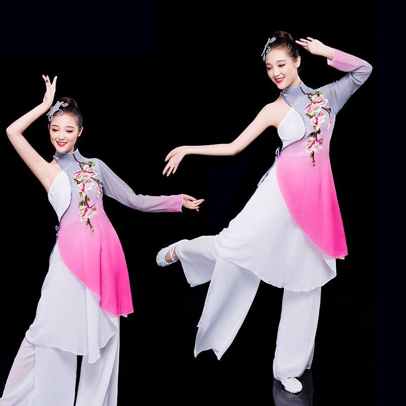 Китайский стиль народный стиль Женская классика танцевальные сценические костюмы китайский костюм hanfu танцевальный костюм