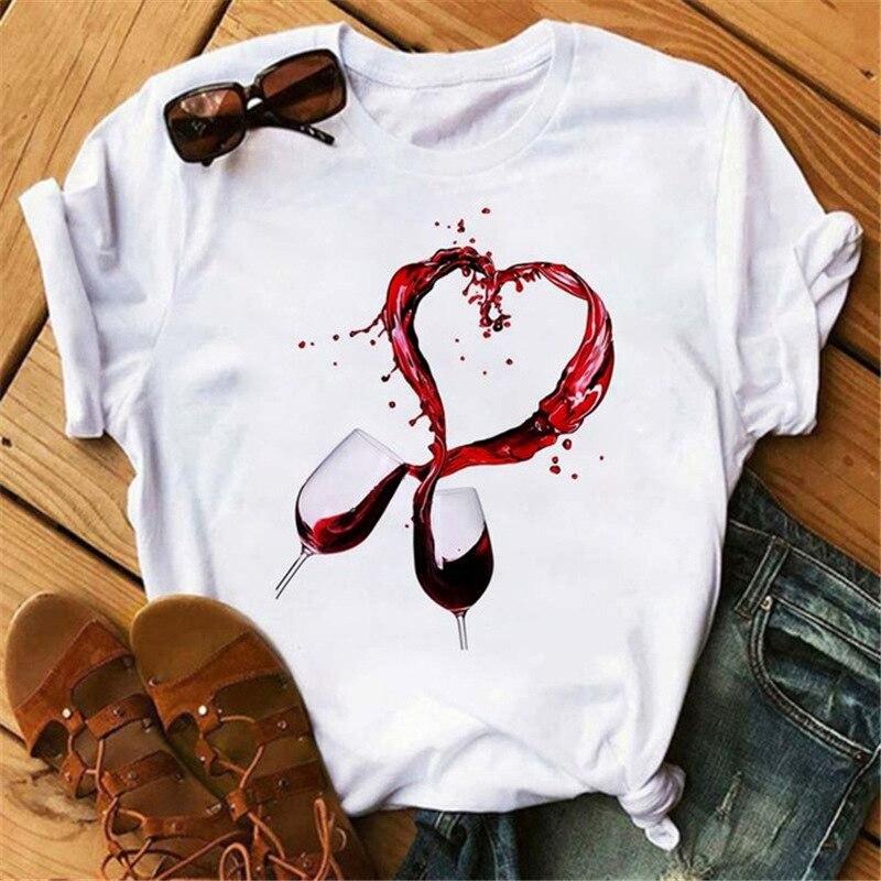 Camiseta con estampado de corazón de amor de vino para Mujer, blusa...
