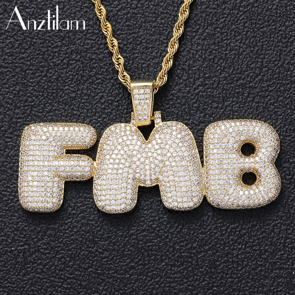 Anztilam Hip Hop Custom Name  Letters Pendants  Necklaces Men Women Iced Out Zirconia  DIY Jewelry With Free 60cm Rope Choker