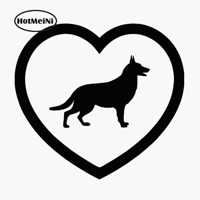 Pegatina de perro para coche HotMeiNi I Love, corazón de pastor alemán, para ventana de coche, camión, parachoques para puerta, pegatina de vinilo, diseño de coche