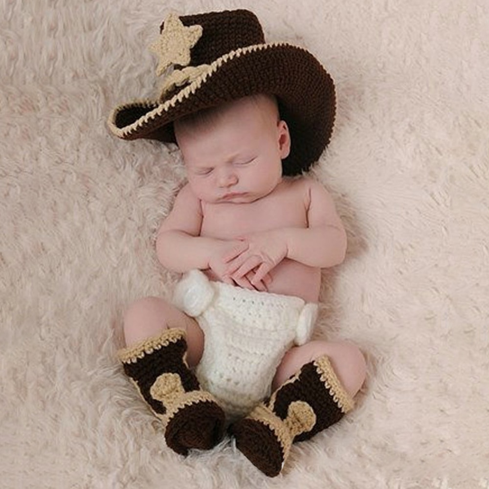 Baby Photography Clothing Handmade Baby Photography Props Newborn Hundred Days Photo Shoot Sweater Set Cowboy Clothing Boots Hat