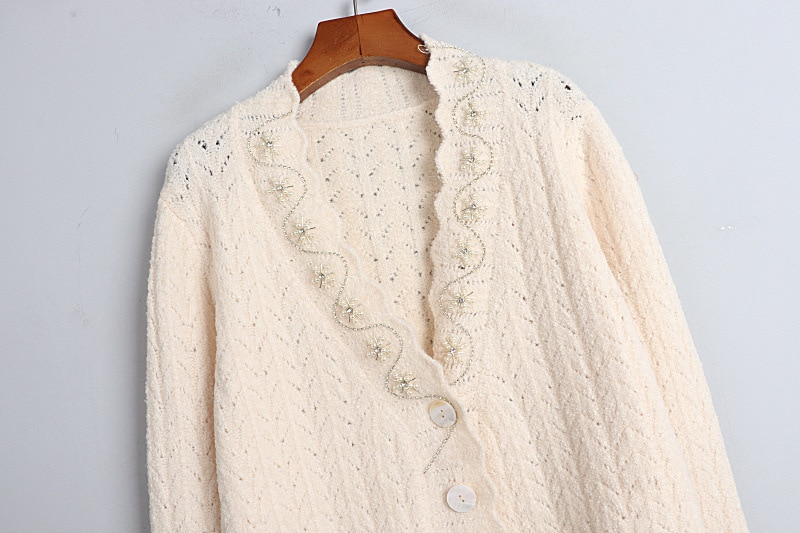 1128  2020  Autumn Free Shipping V Neck Sweater Long Sleeve Kint Cardigan Apricot  Fashion Womens Clothes  Pullover   DL enlarge