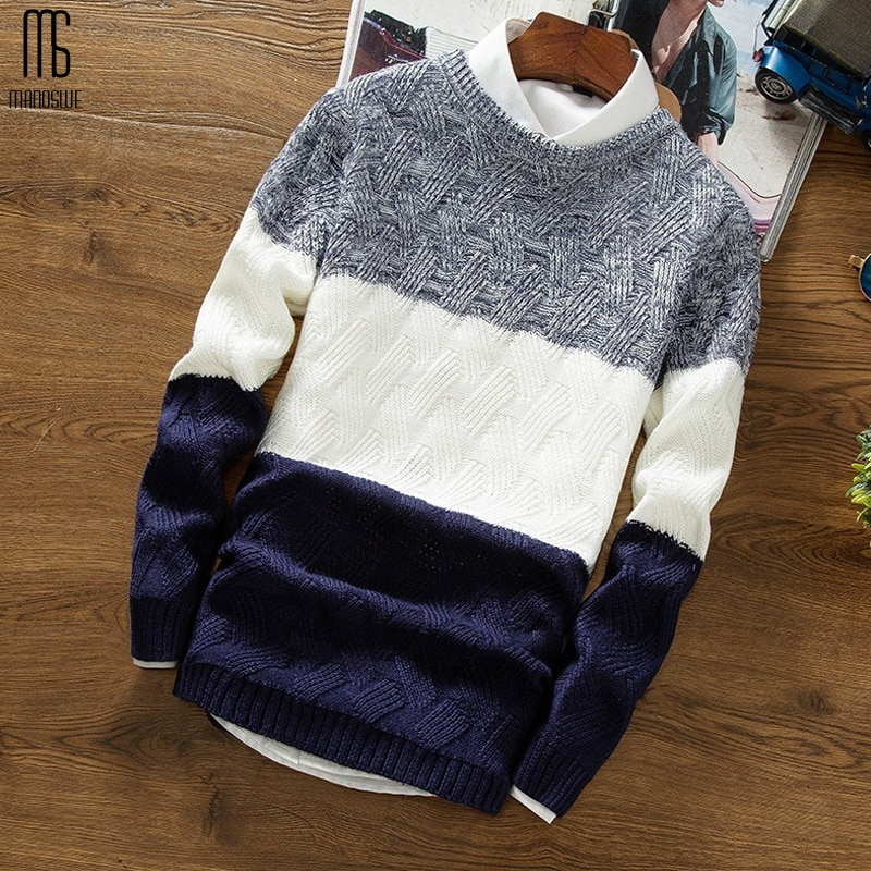 2019 Casual Long Sleeve Autumn Winter Sweater Men Korean Style Slim Knitted Blue Sweater Pullover Jumper Male Christmas