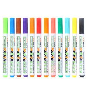 12PCS Black Water-based Erasable Children's Color Blackboard Pen Tablet Writing Pen Highlighter Stationery
