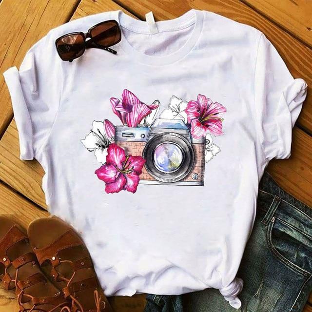 Women T-shirt Fashion girl Printed vogue Vintage Female Printed Camera Cute Top Tshirt Ladies Clothes T-shirt,Drop Ship