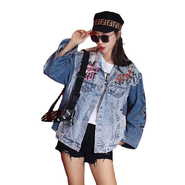 fashion abstract printing denim jacket women casual Graffiti Ripped hole long sleeve jeans jackets female loose outerwear tops