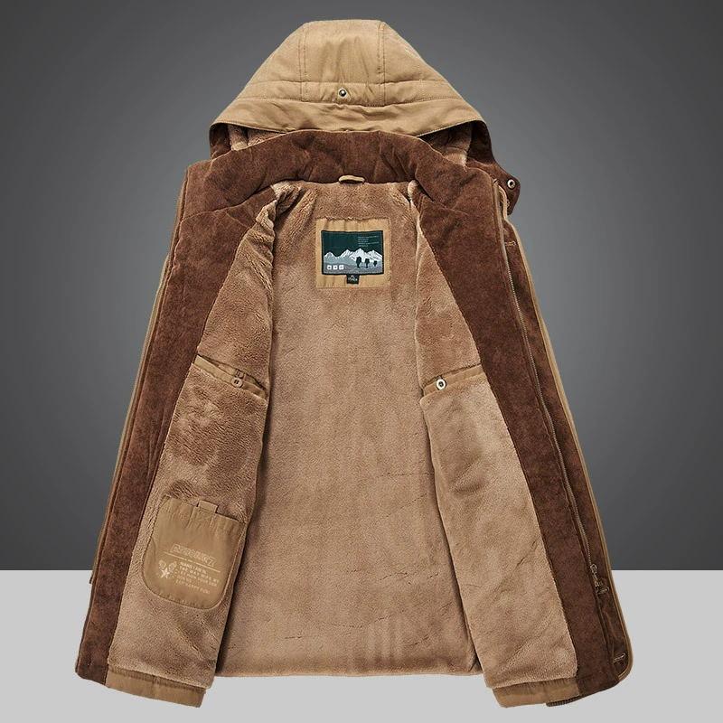 Зимнее Мужское пальто с капюшоном, утепленная куртка с меховой подкладкой, мужское повседневное пальто со съемной шапкой, Мужское пальто, Р...