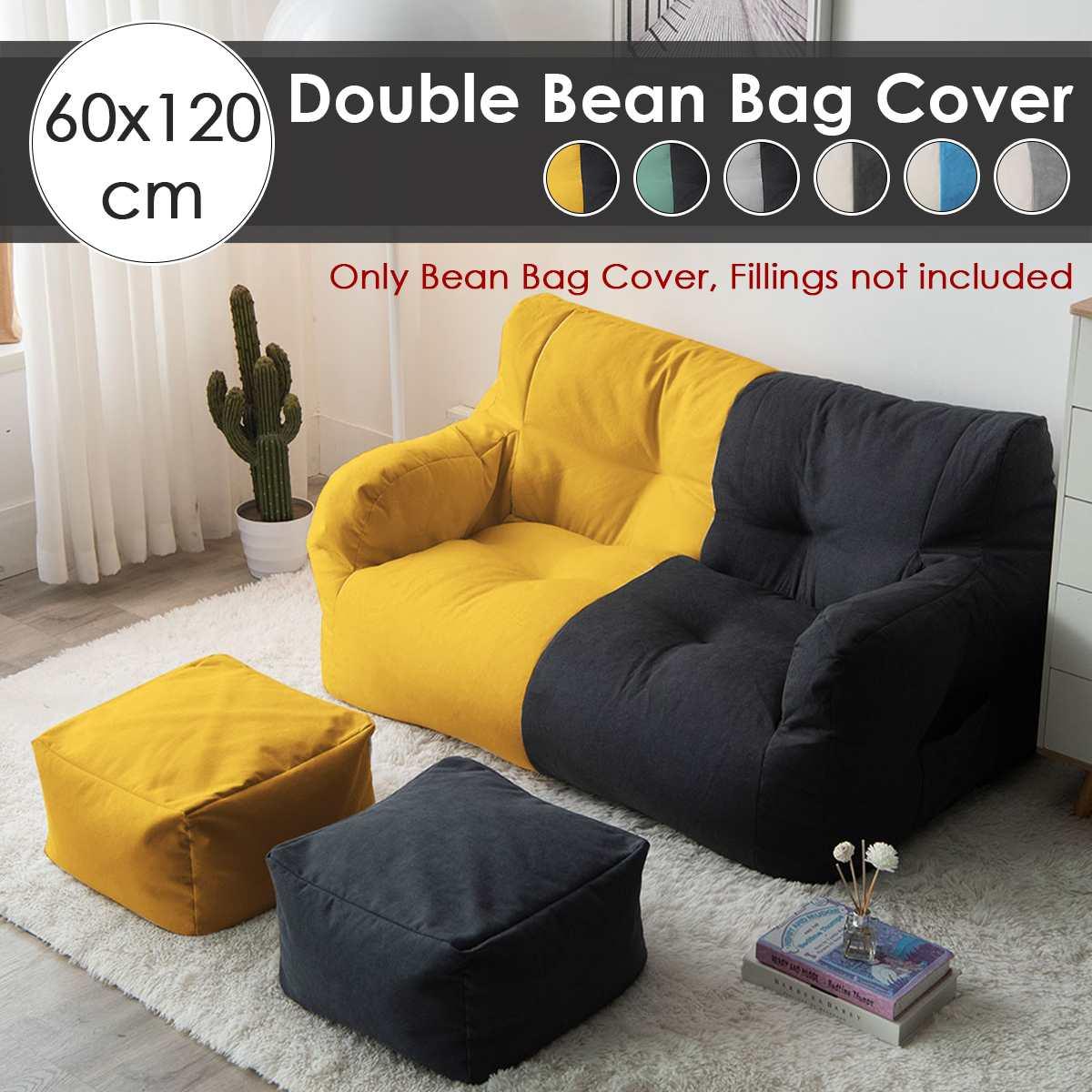 Sofás de tela de lino sin relleno, cubierta de PUF Gigante, tumbona, Tatami, para salón