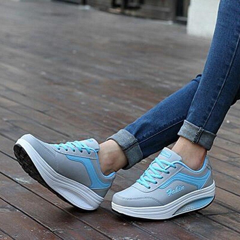 Las mujeres Zapatillas de deporte de alta 2019 plataforma Mujer Zapatos casuales...
