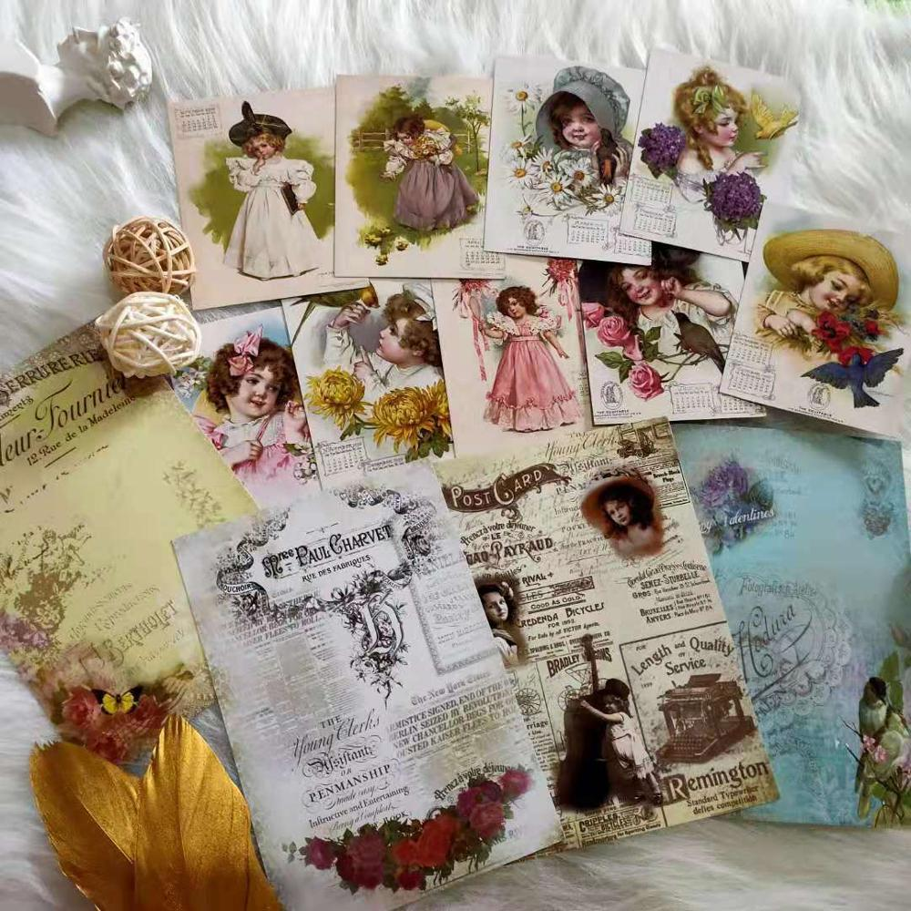 13 PCS Cute Victorian Girl Junk Journal Retro Background Material Sticker Diy Ablum Diary Scrapbooking Label Stickers Stationery checkered kraft feather map flowers lines retro plant old letters background sticker diy ablum diary scrapbooking label sticker