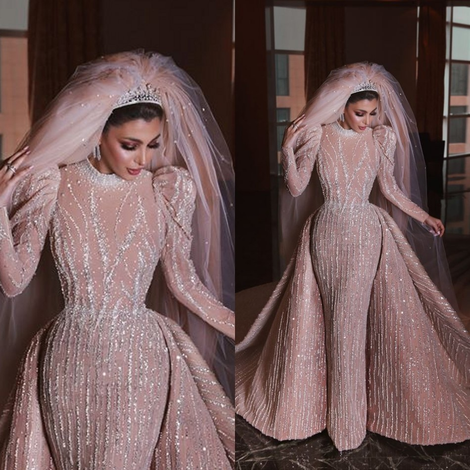 فستان زفاف حورية البحر عربي فاخر ، أكمام طويلة ، ذيل قابل للفصل ، لؤلؤ ، ياقة عالية ، مجموعة 2020