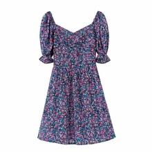 2020 Women Sweet V Neck Puff Sleeve Print Mini Dress Prairie Chic Back Elastic Casual Slim Vestidos Country Style Dresses