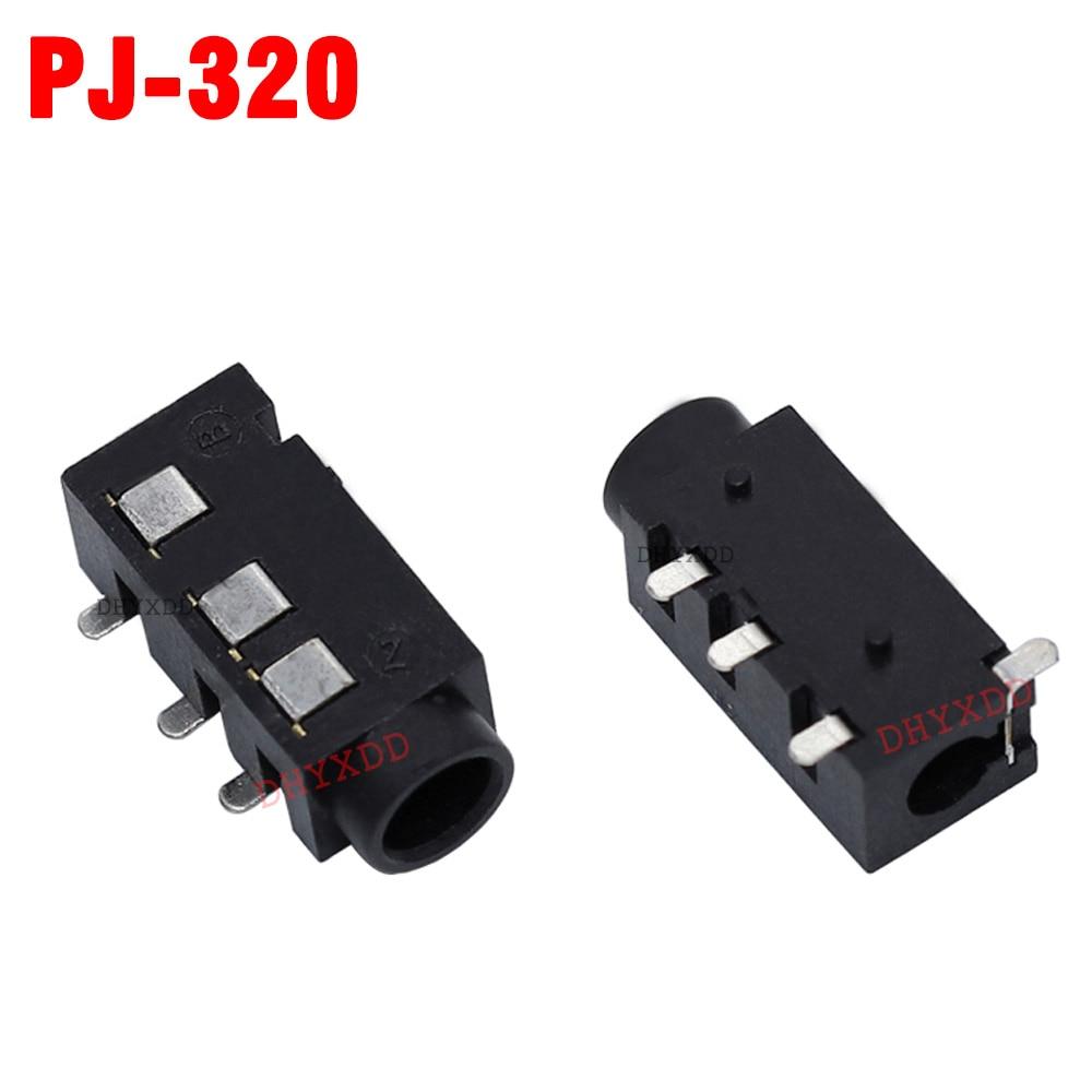 10Pcs 3.5 MM Headphone Jack Audio Jack PJ-320 3-Line Pin Female Connector SMD DIP Stereo Headphones PJ-320B PJ-320A