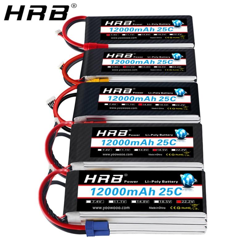 HRB Lipo batería 12000mah 7,4 V 11,1 V T decanos XT60 XT90 EC5 14,8 V 18,5 V 22,2 V 2S 3S 4S 5S 6S 1S RC FPV helicóptero partes de avión