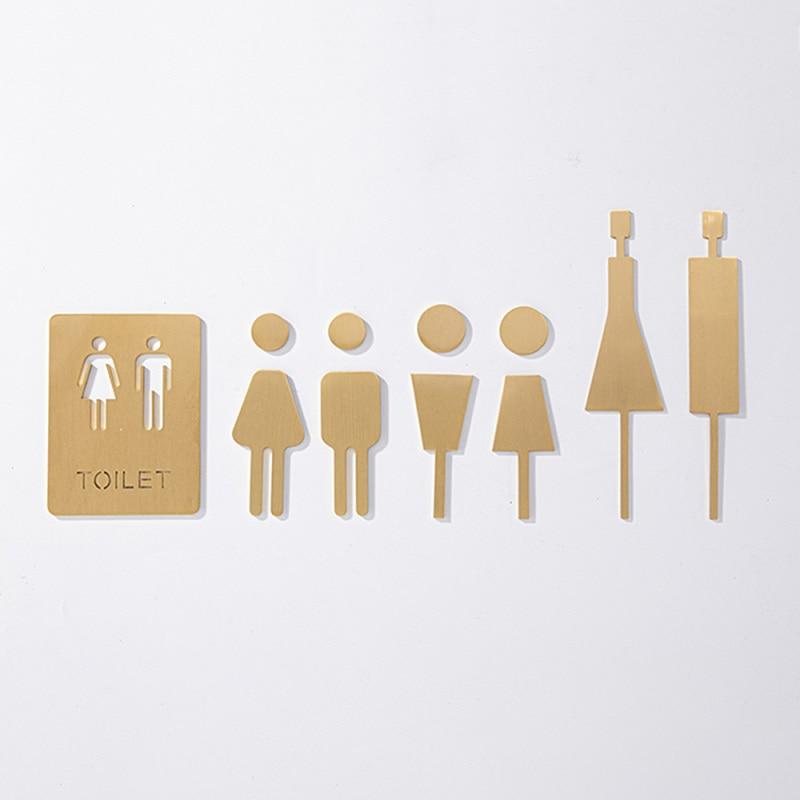 ملصق حائط للحمام للرجال والنساء ، ملصق باب ، مرحاض ، نافذة مرحاض ، لوحة نحاسية ، لوازم ديكور الفندق والمطاعم