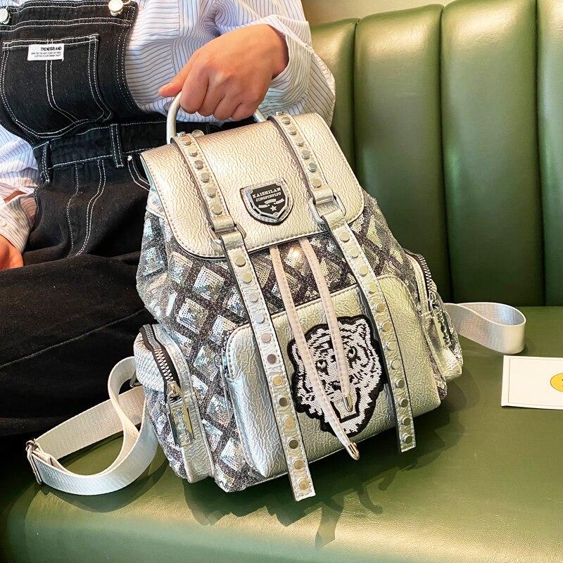 Luxury Designer Animal Prints Ita Backpack School Mochila Brand Shoulder Bag Rivet High-capacity Travel Bag Back Pack