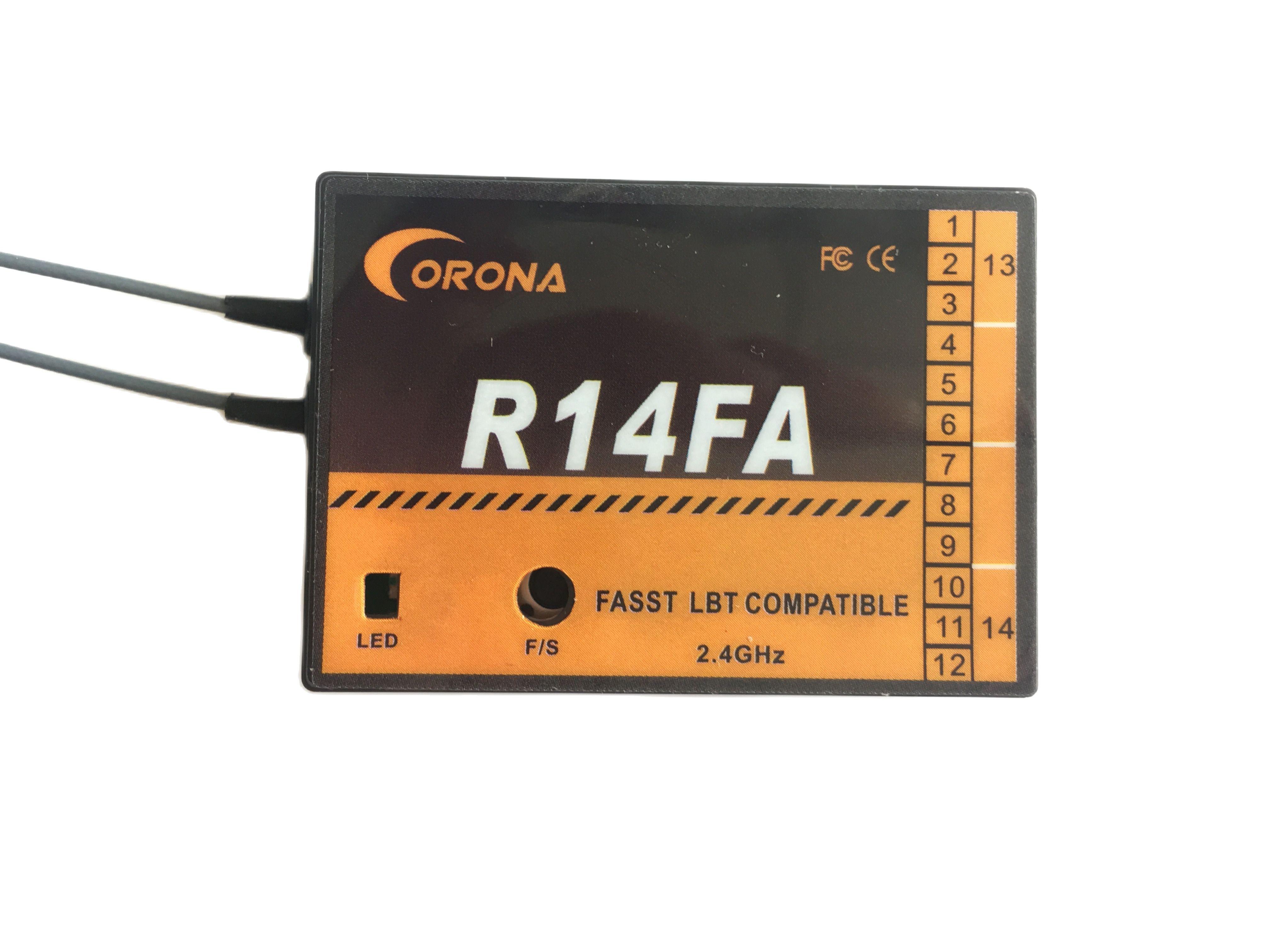 CORONA R14FA 14CH FASST rc receiver compatible TM7, TM8, TM10, TM14 or T6EX-2.4G, 7C-2.4G, 8FG, 10CG, 12FG,14MZ,14SG,18MZ