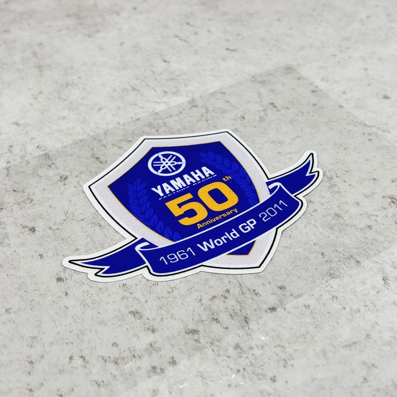 Pegatinas LuLuSticker #135 9x7,3 cm World GP 50 aniversario motocicleta carreras pegatinas BWS GTR moto casco tanque de combustible pegatinas