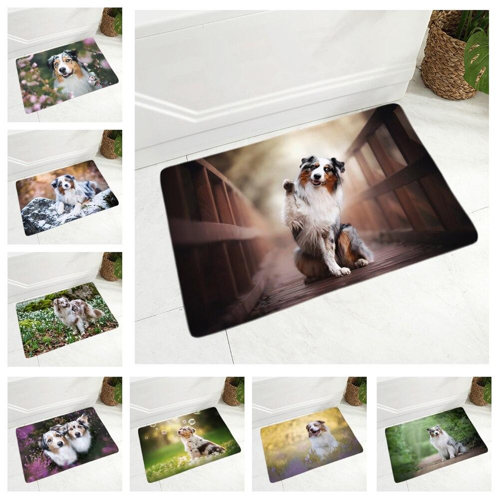 Felpudo antideslizante para puerta de perro mascota, Felpudo de franela, felpudo para dormitorio, pasillo, decoración, alfombra para el perro pastor australiano, 40x60cm