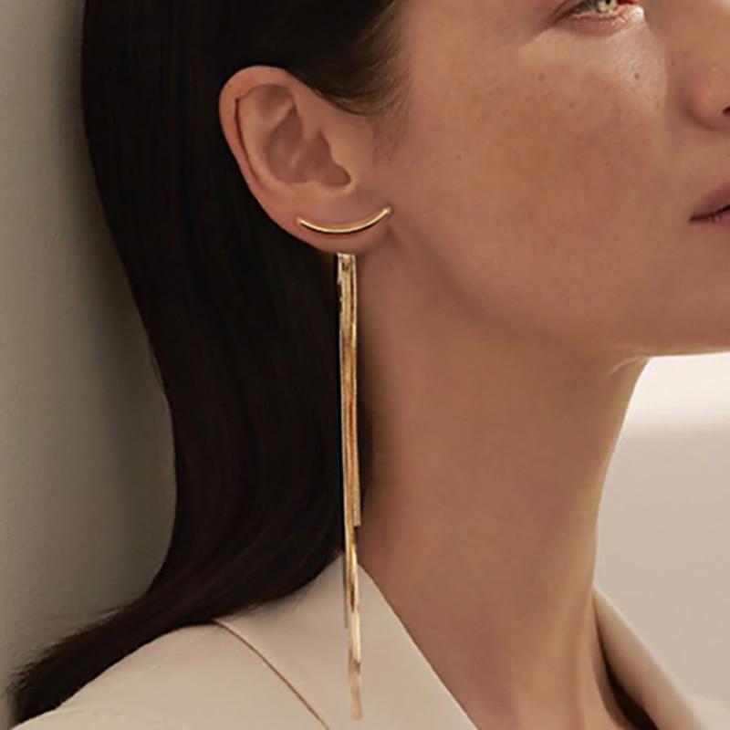 Vintage Gold Color Bar Long Thread Tassel Drop Earrings for Women Glossy Arc Geometric Korean Fashion Jewelry Hanging Pendientes