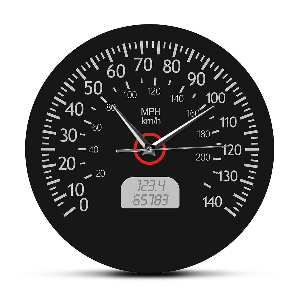 Velocímetro kilómetros y millas Reloj de pared impreso carrera mecánica pared arte negro coche Dashboard manómetro pared reloj decoración de garaje