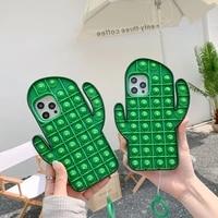 cartoon fun 3d cactus phone case foriphone 12 mini 11 pro max xs max xr x se20 6s 6 7 8 plus kid gift cute soft silicone cover