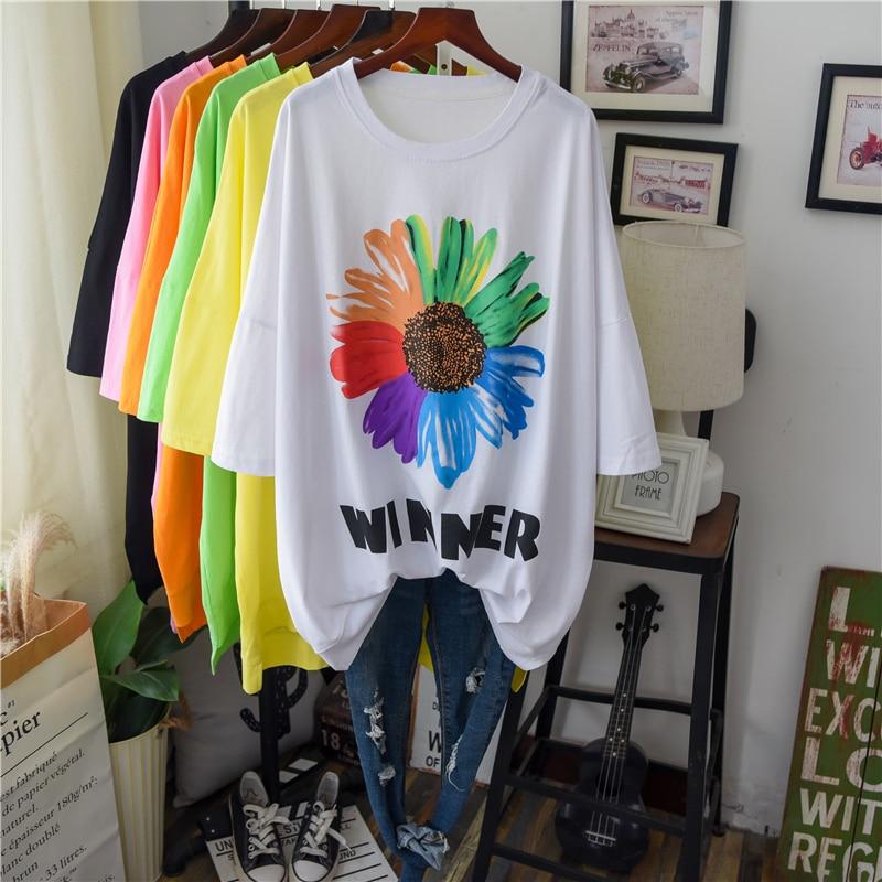 Camiseta larga de ropa informal de algodón para mujer, verano 2020, nueva camiseta Ulzzang con estampado de flores para mujer, camiseta de gran tamaño suave para mujer embarazada