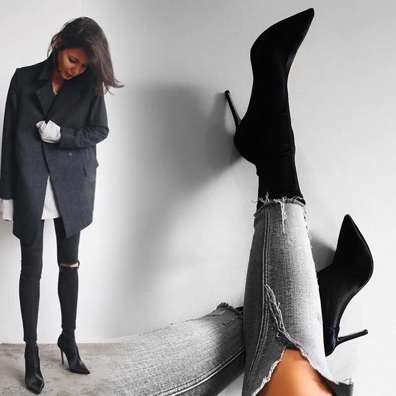 EOEODOIT Высокие каблуки-шпильки; Пикантные женские сапоги, с острым носком, ботинки-носки Lycra женские туфли-лодочки высотой до середины голени; ...