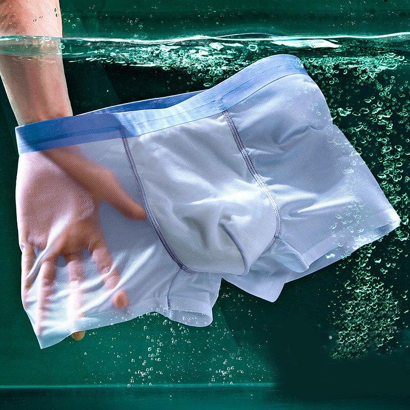 Мужские Бесшовные Боксеры, нижнее белье, мужские сексуальные ультратонкие Трусы из ледяного шелка, дышащие сетчатые мужские шорты, мужские ...