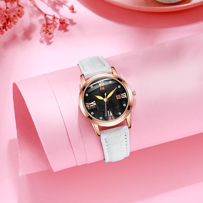 YUNAO ساعة نسائية 2021 جديد حزام PU السيدات ساعة مقاوم للماء صافي نجمة حمراء نفس ساعة الموضة عادية السيدات الراقية