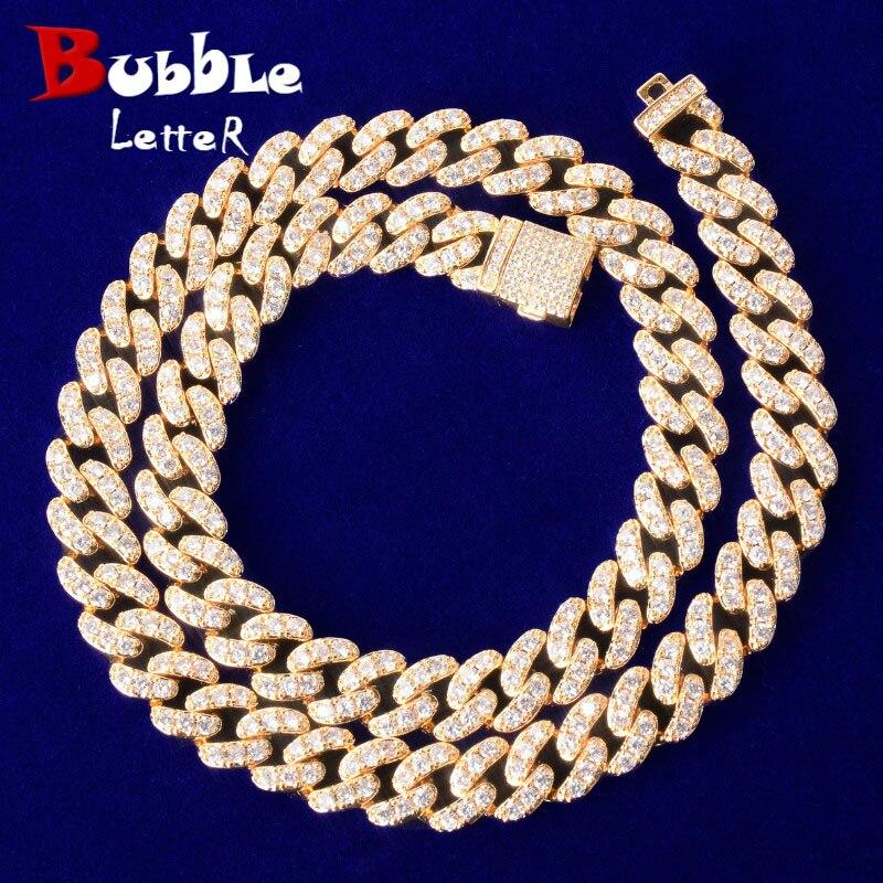10mm Gold Miami Cuban Link Necklace Bling AAAA Zircon Charm Men's Hip Hop Chain Women Jewelry