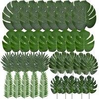 Feuilles de palmier tropicales dete Monstera  feuilles de tortue artificielles en soie pour la maison  Luau hawaien  decor de fete de mariage sur la plage  fausses plantes